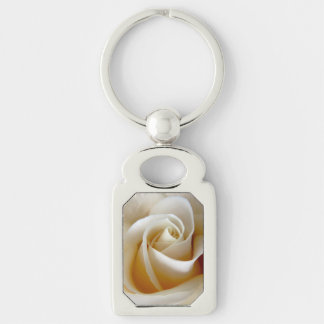 Cream Rose Wedding Photo Silver-Colored Rectangle Key Ring