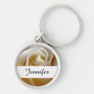 Cream Rose Wedding Photo Silver-Colored Round Key Ring