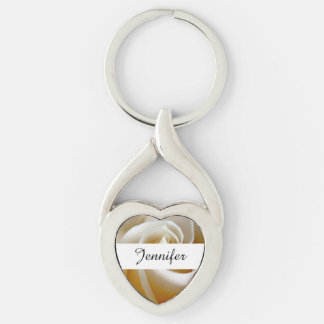 Cream Rose Wedding Photo Silver-Colored Twisted Heart Key Ring