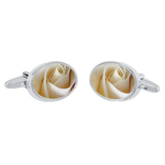 Cream Rose Wedding Photo Silver Finish Cufflinks