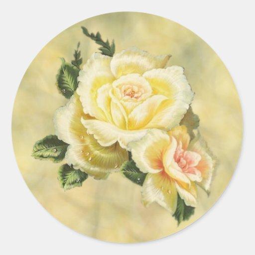 Cream Roses Envelope Seal Stickers
