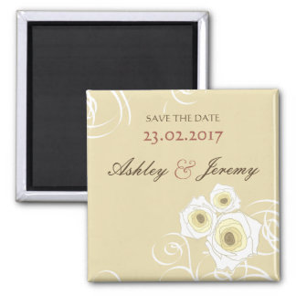 Cream Roses & Swirls *01 Save The Date Magnet Magnets