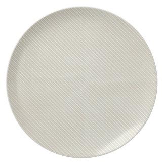 Cream Side Stripes Dinner Plates