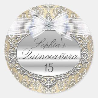 Cream & Silver Bow Quinceanera Sticker