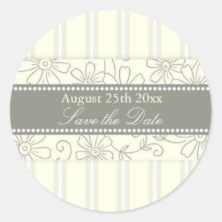 Cream Stripes Floral Save the Date Envelope Seal Round Sticker