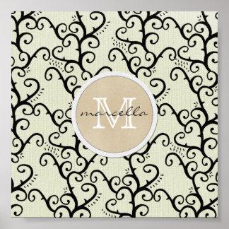 Cream Swirly Vines Background Monogram Print