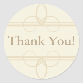 Cream Thank You Stickers and Wedding Favor Labels