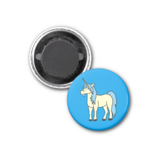 Cream Unicorn with Light Blue Mane 3 Cm Round Magnet