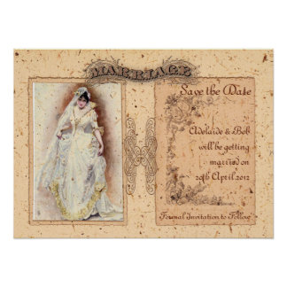 Cream Victoriana Save the Date Posters