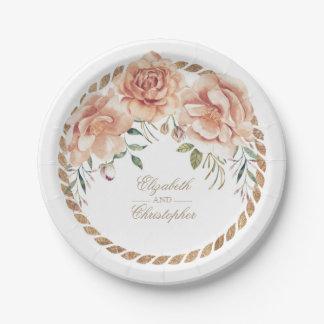 Cream Watercolor Floral Bouquet Vintage Wedding Paper Plate
