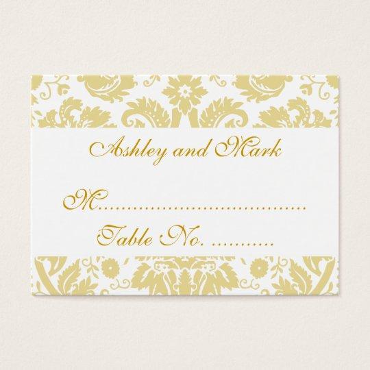 Cream White Damask Wedding Reception Place Cards