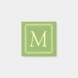 Cream Wreath on Spring Greenery Monogram Post-it Notes