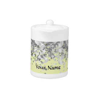 Cream yellow and faux glitter personalized