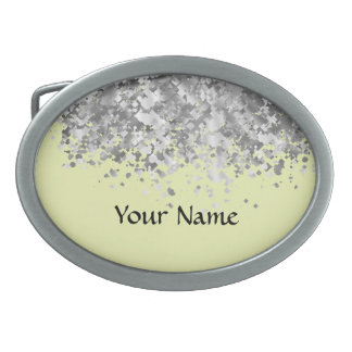 Cream yellow and faux glitter personalized belt buckles