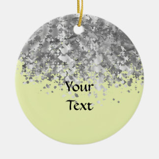 Cream yellow and faux glitter personalized christmas ornament