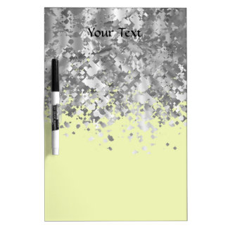 Cream yellow and faux glitter personalized dry erase board