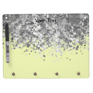 Cream yellow and faux glitter personalized dry erase board with key ring holder