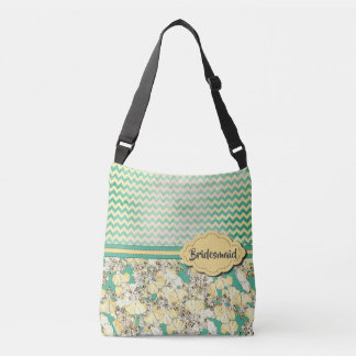 Cream Yellow Leopard Orchids on Aqua w Custom Text Crossbody Bag