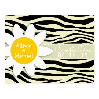 Cream Zebra Stripes Animal Print Daisy Post Cards