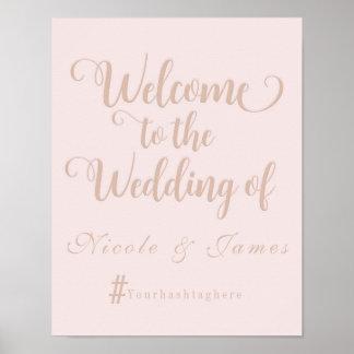 Creamy Beige Wedding Welcome Hashtag Wedding Sign Poster