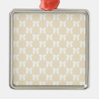 Creamy Buff Pastel With White Bows Christmas Tree Ornament