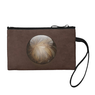 Creamy Coffee Brown Shiny Marble Change Purses