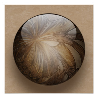 Creamy Coffee Brown Shiny Marble Poster