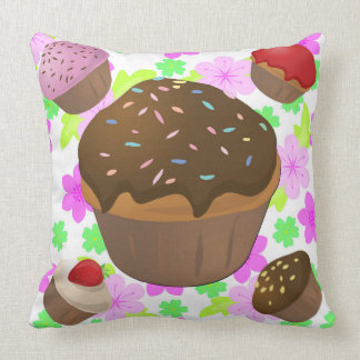 Creamy cupcake set on abstract background cushion