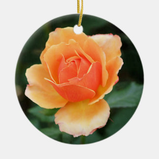 Creamy Orange Modern Rose Christmas Ornament