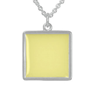 Creamy Pale Pastel Butter Yellow Solid Square Pendant Necklace
