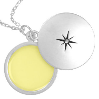 Creamy Pale Pastel Butter Yellow Solid Round Locket Necklace
