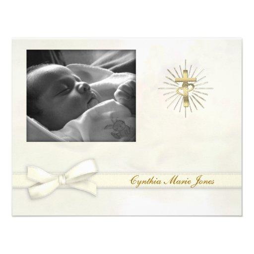 Creamy Pastel Christening Photo Invitation