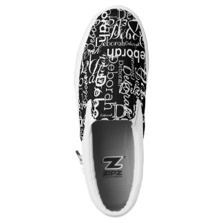 create a black-and-white typography slip on shoes