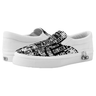 create a cool black-and-white typography slip on shoes
