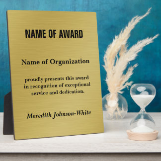Create a Custom Volunteer Recognition Award (Gold) Display Plaques