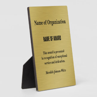 Create a Custom Volunteer Recognition Award (Gold) Plaque