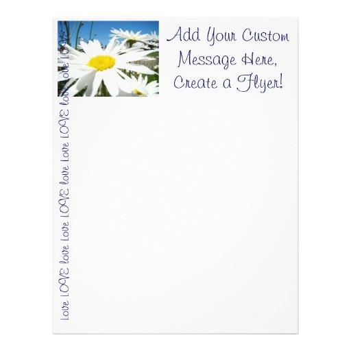 Create a Flyer! Custom White Daisy Flowers LOVE