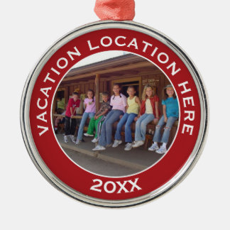 Create A Vacation Souvenir with Photo and Text Christmas Ornament