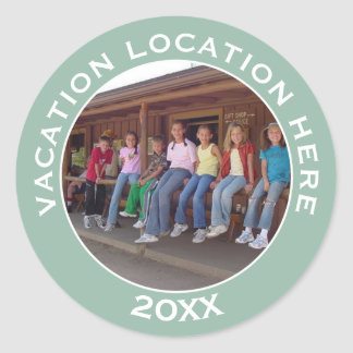 Create A Vacation Souvenir with Photo and Text Classic Round Sticker
