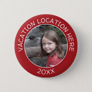 Create A Vacation Souvenir with Your Photo & Text 6 Cm Round Badge