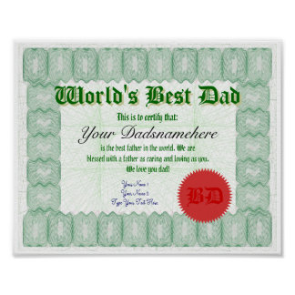 Create a World s Best Dad Certificate Print