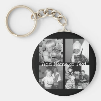 Create an Instagram Collage with 4 photos - black Basic Round Button Key Ring