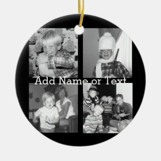 Create an Instagram Collage with 4 photos - black Christmas Ornament