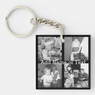 Create an Instagram Collage with 4 photos - black Double-Sided Square Acrylic Key Ring