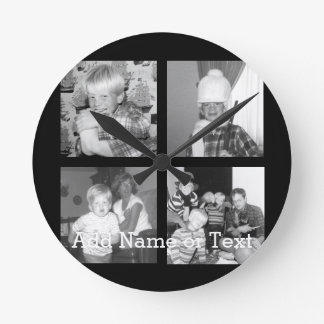 Create an Instagram Collage with 4 photos - black Round Clock