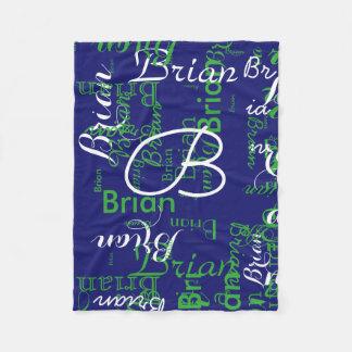 create boy name typography blue fleece blanket