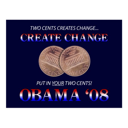 Create Change with Obama Postcard