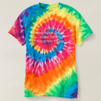 Create Custom Fun Mardi Gras Queen Spiral Tie-Dye T-Shirt