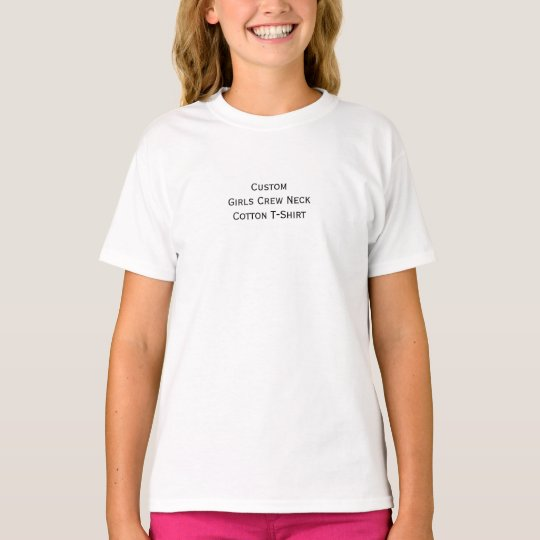 Create Custom Girls Kids Crew Neck Cotton T-Shirt