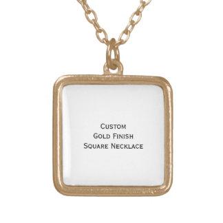 Create Custom Gold Finish Square Photo Necklace
